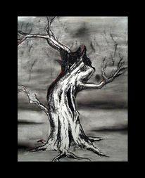 Schwarz weiß, Baum, Kreide, Zeichnung