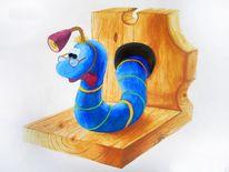 Wurm, Bunt, Bücherstütze, Wasserfarbe