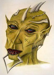 Kreide, Zeichnung, Grün, Dämon