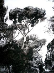 Schwarz weiß, Zeichnung, Landschaft, Kohlezeichnung