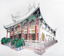 Gebäude, Asien, Malerei, Buntstiftzeichnung