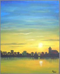 Sonnenuntergang, Abend, Wasser, Häuser