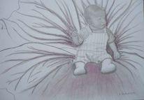 Baby, Blumen, Menschen, Bleistiftzeichnung