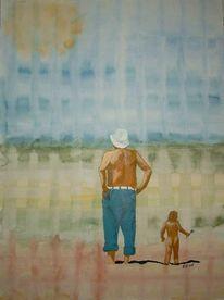 Mann, Kind, Urlaub, Meer