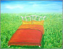 Bett, Feld, Natur, Blumen