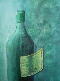 Grün, Flasche, Malerei, Mischtechnik