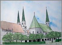Kirche, Aquarell,