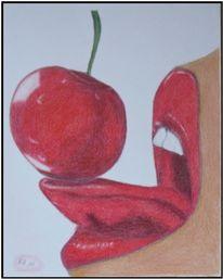 Lippen, Zunge, Kirsche, Obst