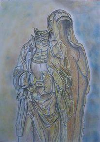 Skulptur körperlos holz, Zeichnungen