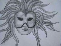 Fantasie, Maske bleistift, Zeichnungen, Maske