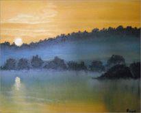 Natur, Nebel, Morgen, Malerei