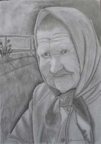 Alt, Mutter, Bleistiftzeichnung, Frau