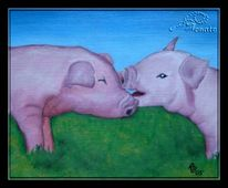 Natur, Schwein, Tiere, Malerei