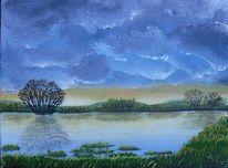 Natur, Wiese, Überschwemmung, Malerei