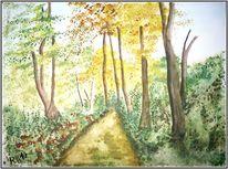 Wald, Natur, Baum, Aquarell