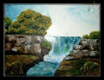 Spachteltechnik, Wasser, Wasserfall, Natur