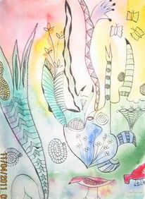 Tuschezeichnung, Aquarellmalerei, Malerei, Flora