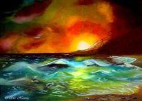 Welle, Landschaft, Sonnenuntergang, Ölmalerei