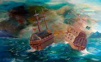 Ölmalerei, Schiff, Wolken, Kanonkugeln