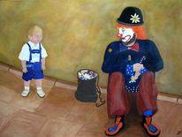 Clown, Junge, Lederhose, Kind