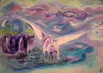 Pegasus, Einhorn, Himmel, Amethysten grotte