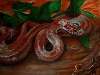 Braun, Schlange, Malerei, Tiere