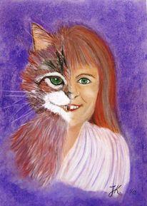 Menschen, Katze, Zeichnungen, Portrait zeichnung