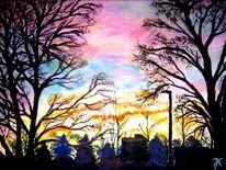 Sonnenaufgang in erlangen, Malerei, Sonnenaufgang