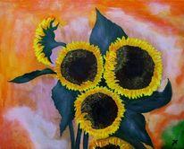 Gelb, Groß, Sonnenblumen, Malerei