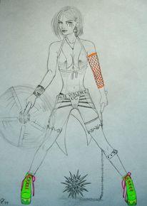 Punk, Manga, Frau, Zeichnungen