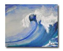 Welle, Junger realismus, Aquarellmalerei, Mischtechnik