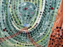 Schlange, Grün, Zeitgenössisch, Abstrakte malerei