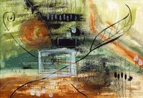 Abstrakte malerei, Zeitgenössisch, Blätter, Schwarz