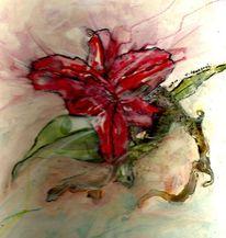 Rot, Lasurtechnik, Pastellmalerei, Abstrakt