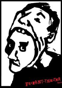 Plakatkunst, Theater, Kopf, Schizophren