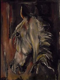 Acrylmalerei, Hengst, Pferde, Araber