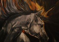 Einhorn, Pferde, Gemälde, Acrylmalerei