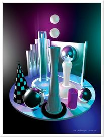 Chromeffekt, Grafik, Kunstdruck computerkunst, Modellbau