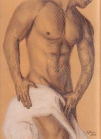 Akt, Mann, Pastellmalerei, Zeichnung