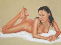 Akt, Frau, Pastellmalerei, Zeichnung