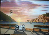 Ölmalerei, Gardasee, Landschaft, Italien