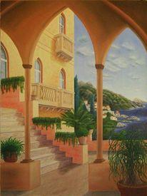 Italien, Landschaft, Mediterran, Ölmalerei