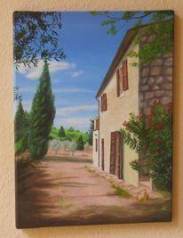 Malerei, Ölmalerei, Toskana, Landschaft