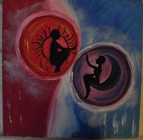 Mond, Acrylmalerei, Sonne, Malerei