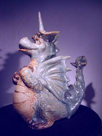 Lampe, Keramik unikat, Drache, Ölmalerei