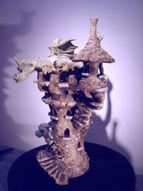 Drache, Skulptur, Keramik unikat, Beleuchtungsobjekt