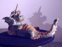 Ölmalerei, Drache, Lampe, Keramik unikat