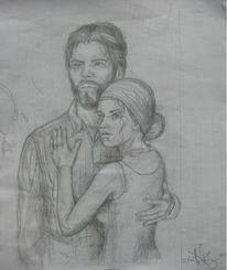 Bleistiftzeichnung, Portrait, Skizze, Menschen