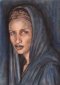 Frau, Menschen, Pastellmalerei, Portrait