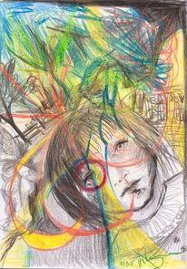 Zeichnung, Buntstiftzeichnung, Gekritzel, Malerei